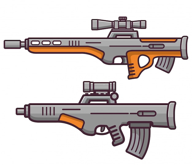 Fucile da cecchino di armi da fuoco bullpup. Vettore Premium