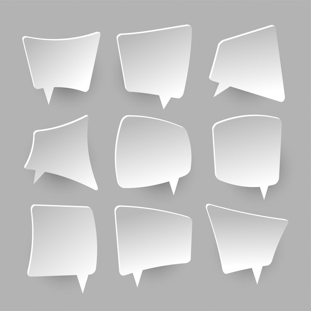 Fumetti di carta. palloncini bianchi vuoti, scatola che grida Vettore Premium