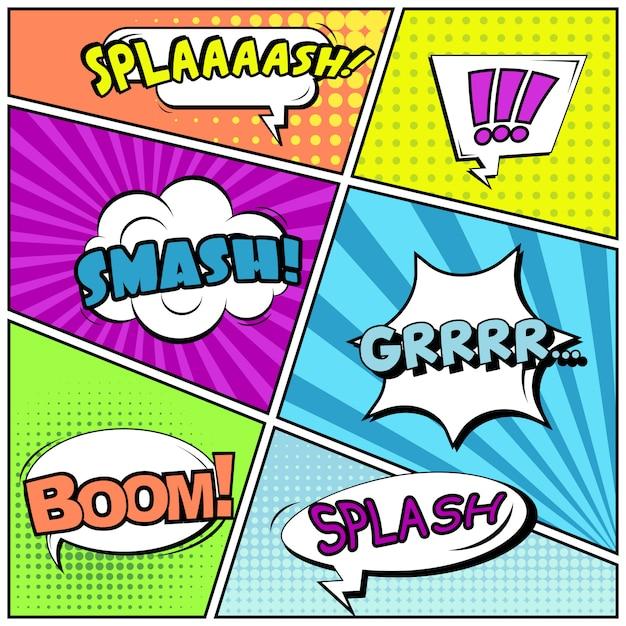 Fumetti o vignette in stile pop art con fumetti: splaaash, smash, boom! Vettore Premium