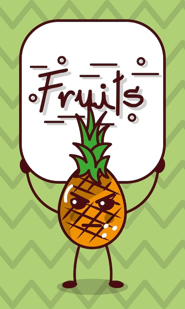 Fumetto Arrabbiato Di Kawaii Dell Ananas Con Il Segno Di Frutti