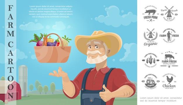 Fumetto che coltiva composizione variopinta con il canestro dell'agricoltore delle verdure e distintivi di progettazione monocromatici dell'azienda agricola Vettore gratuito