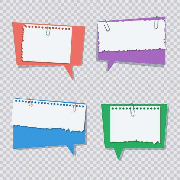 Fumetto colorato con pezzi di carta bianca strappata Vettore Premium