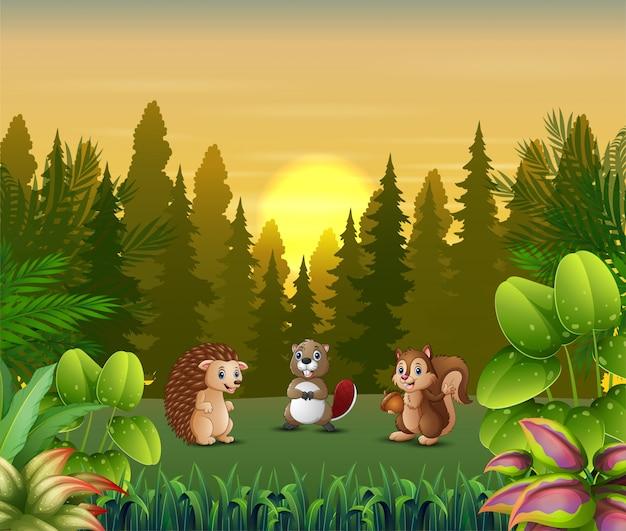 Fumetto degli animali che gioca al paesaggio di tramonto Vettore Premium