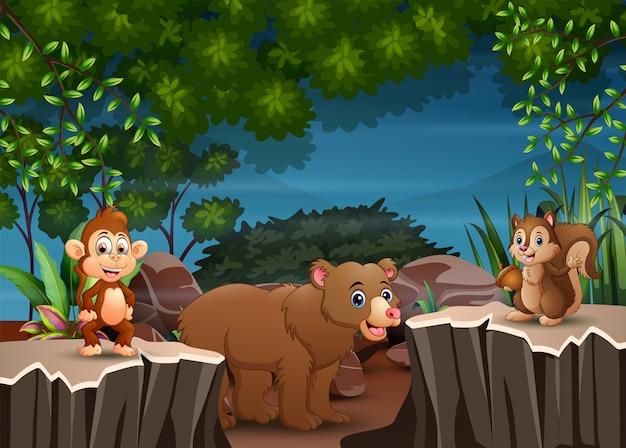 Fumetto degli animali che gioca nella scena notturna Vettore Premium