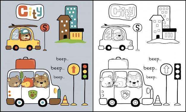Fumetto degli animali sull'automobile nel traffico cittadino Vettore Premium