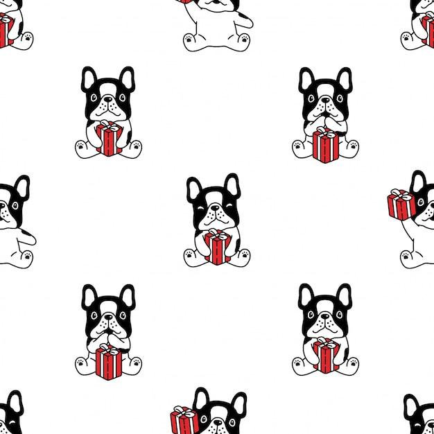 Fumetto del contenitore di regalo del bulldog francese del modello senza cuciture del cane Vettore Premium