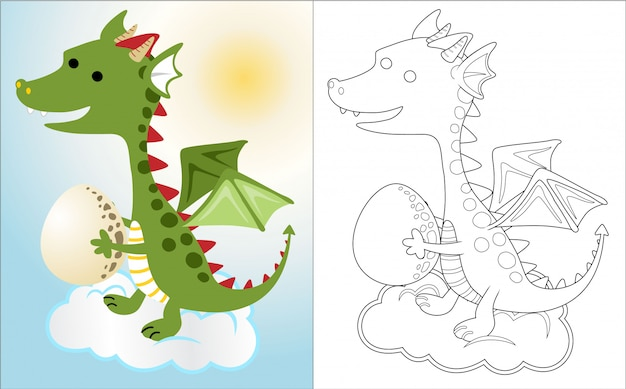 Fumetto del drago nel cielo con l'uovo, Vettore Premium