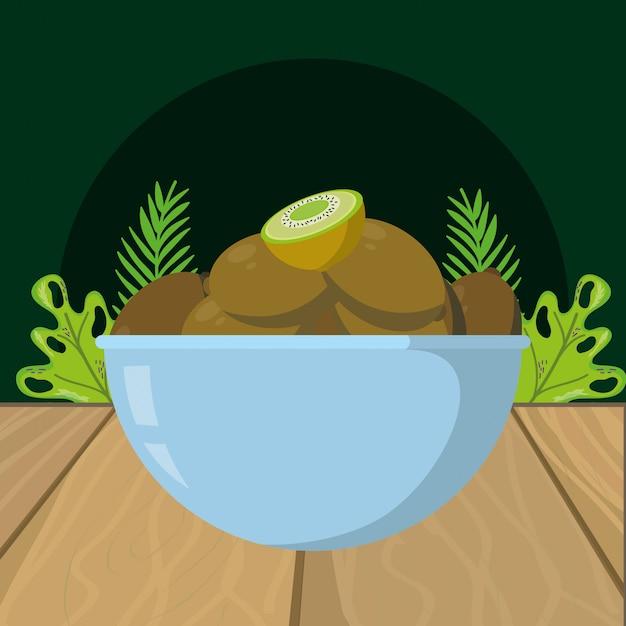 Fumetto del kiwi di frutta fresca Vettore Premium