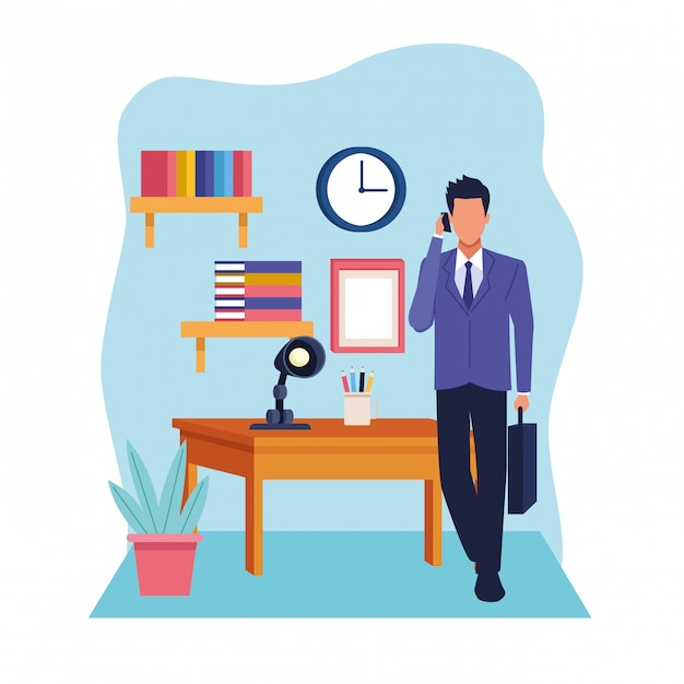 Fumetto del lavoro esecutivo professionale di affari Vettore Premium