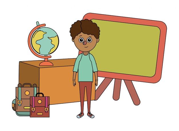 Fumetto del ragazzo di istruzione scolastica Vettore Premium