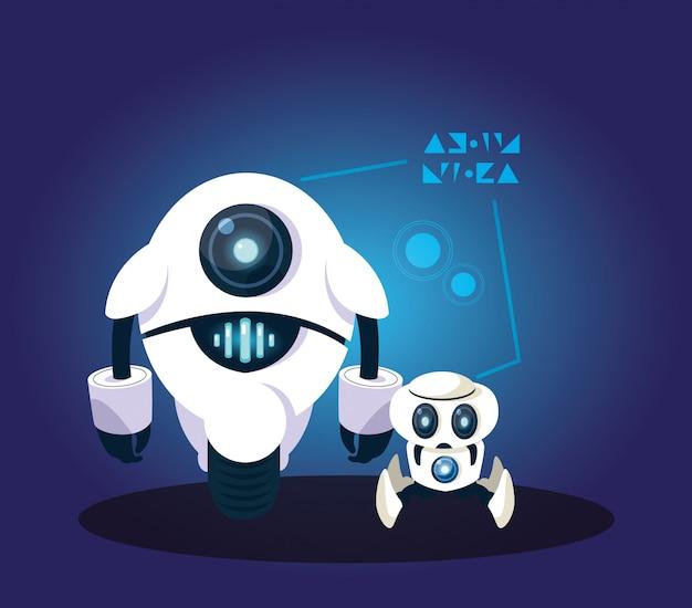 Fumetto del robot di tecnologia sopra il blu Vettore Premium