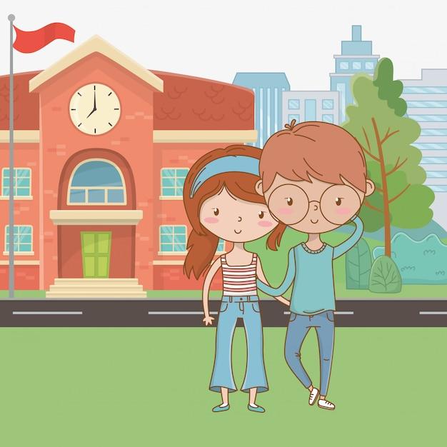 Fumetto dell'adolescente e del ragazzo dell'adolescente Vettore gratuito
