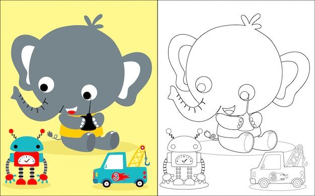 Fumetto dell'elefante del bambino con i giocattoli Vettore Premium