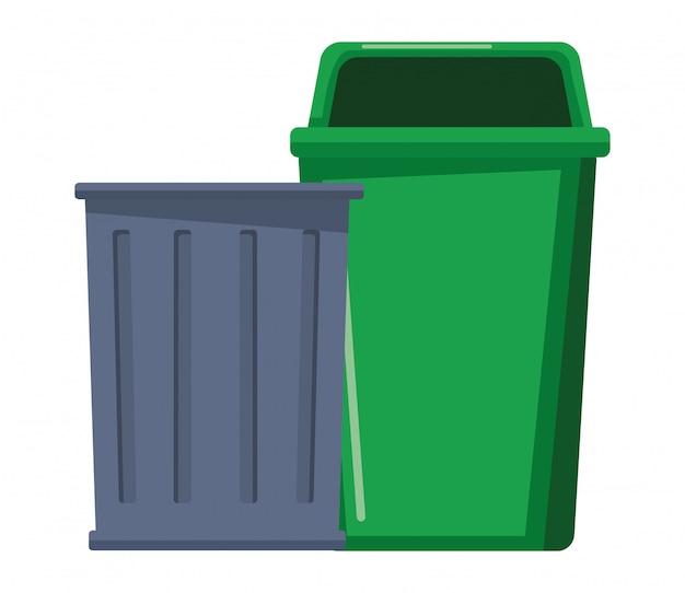 Fumetto dell'icona del cestino dell'immondizia Vettore Premium