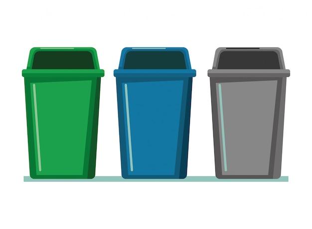 Fumetto dell'icona di tre bidoni della spazzatura Vettore Premium