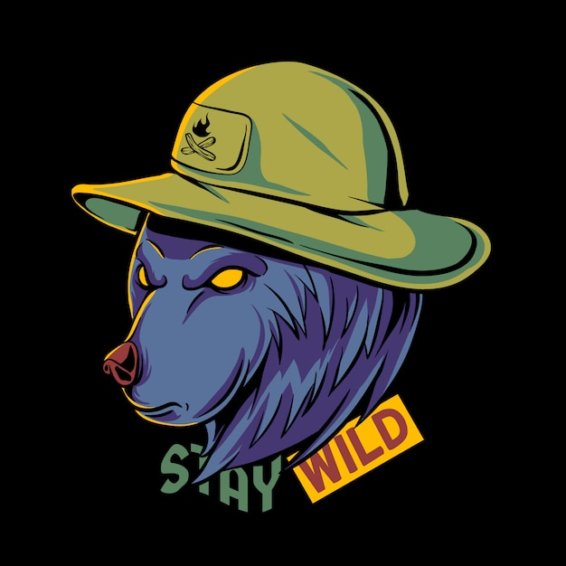 Fumetto dell'orso grigio con l'illustrazione del cappello Vettore Premium