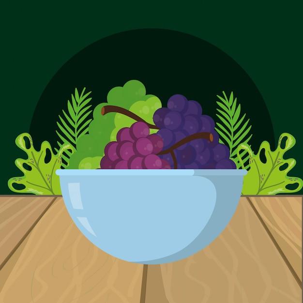 Fumetto dell'uva della frutta fresca Vettore Premium