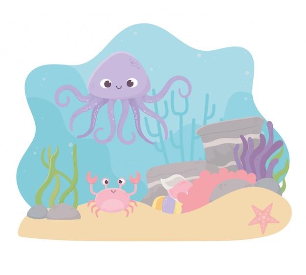 Fumetto della barriera corallina di vita delle stelle marine del granchio del polipo sotto il mare Vettore Premium