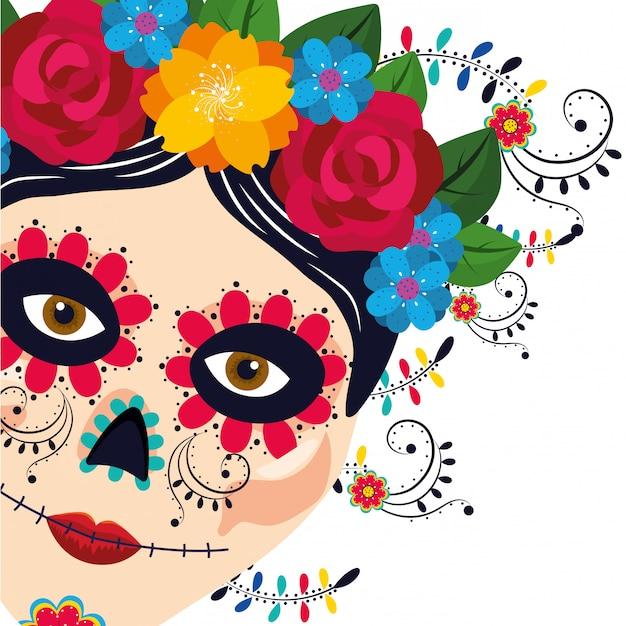 Fumetto della donna di cultura messicana Vettore Premium