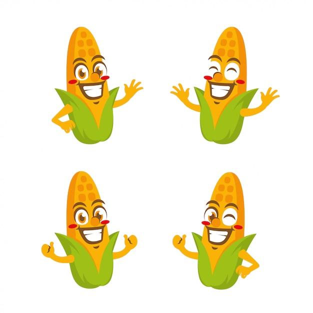 Fumetto della mascotte del carattere delle verdure del cereale Vettore Premium
