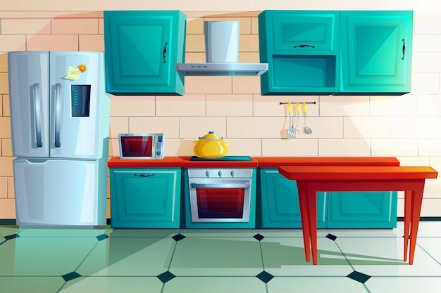 Fumetto della mobilia di legno del witn interno della cucina Vettore gratuito