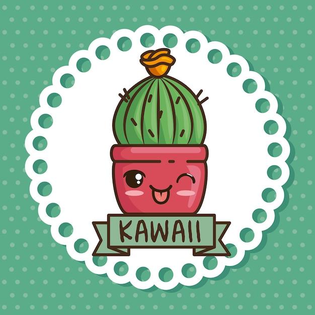 Fumetto della pianta naturale del vaso di kawaii Vettore Premium