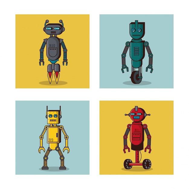 Fumetto delle icone quadrate del robot Vettore Premium