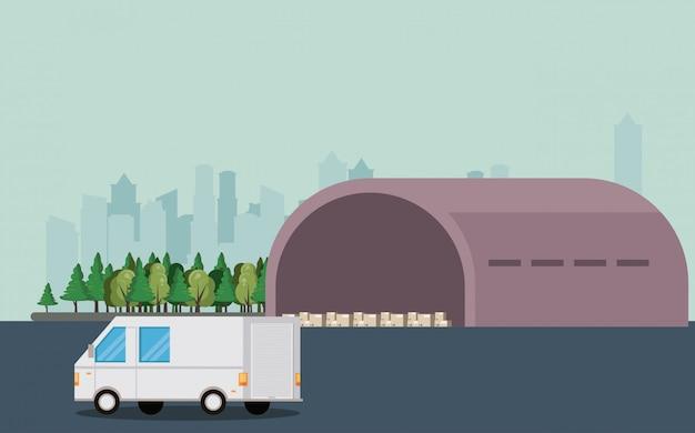 Fumetto di consegna del veicolo di trasporto del furgone Vettore gratuito