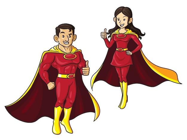 Fumetto di coppia di supereroi Vettore Premium