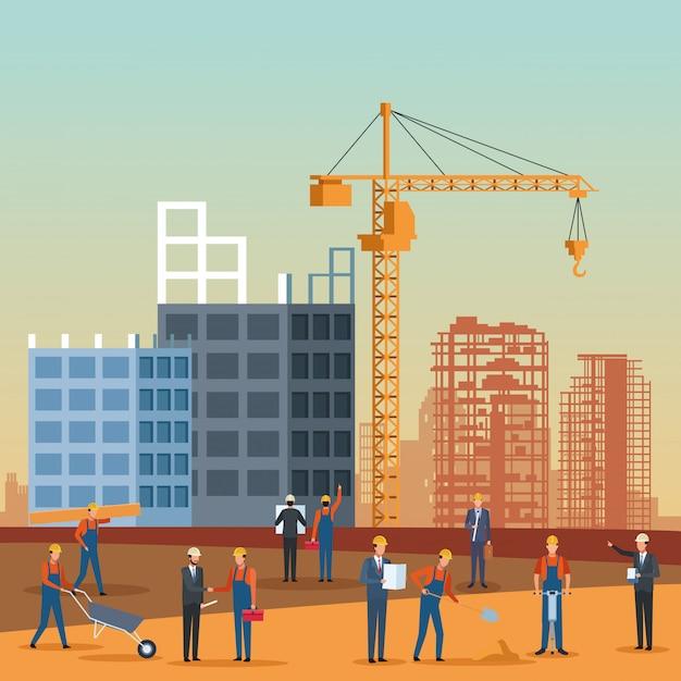 Fumetto di ingegnere edile Vettore Premium