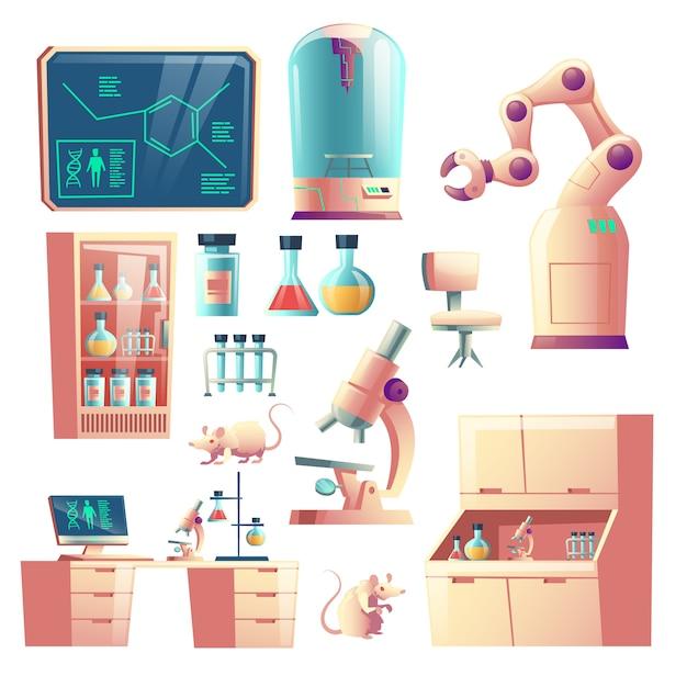 Fumetto di strumenti, vetreria e strumenti di laboratorio genetico di scienza Vettore gratuito