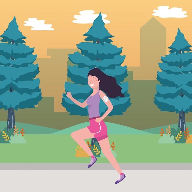 Fumetto di treno sport fitness Vettore Premium
