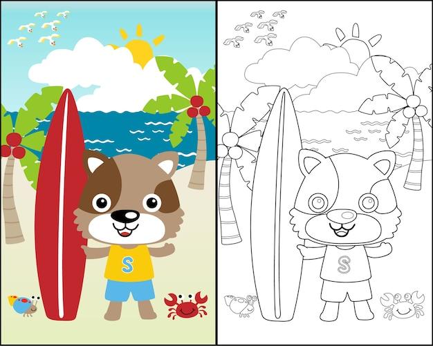 Fumetto di vettore del surfista divertente sulla priorità bassa della spiaggia Vettore Premium