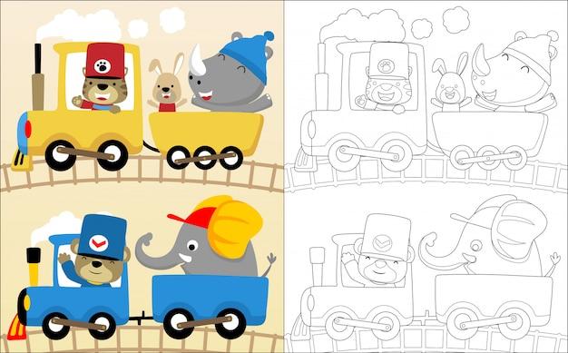Fumetto divertente degli animali sulla locomotiva a vapore Vettore Premium