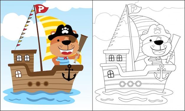 Fumetto divertente del pirata sulla barca a vela nel mare Vettore Premium