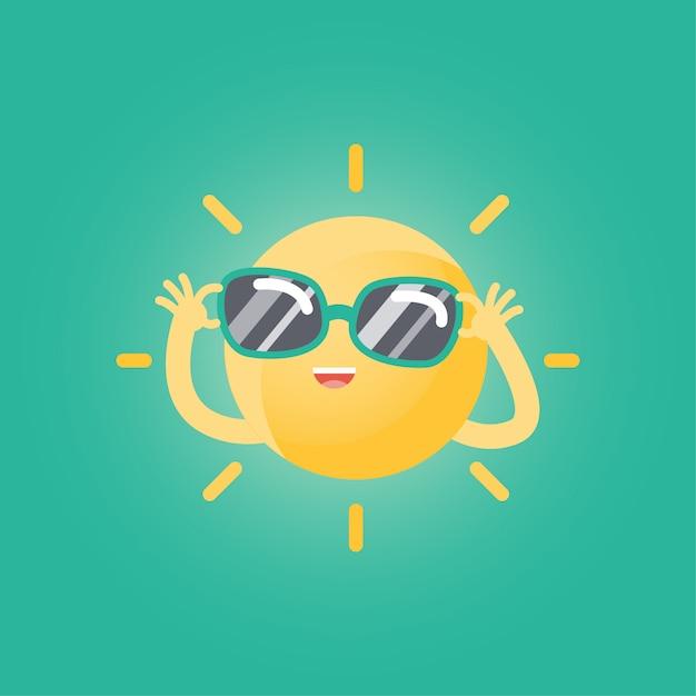 Fumetto divertente felice del sole con gli occhiali da sole Vettore Premium