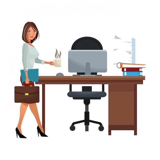Fumetto esecutivo della donna di affari isolato Vettore Premium