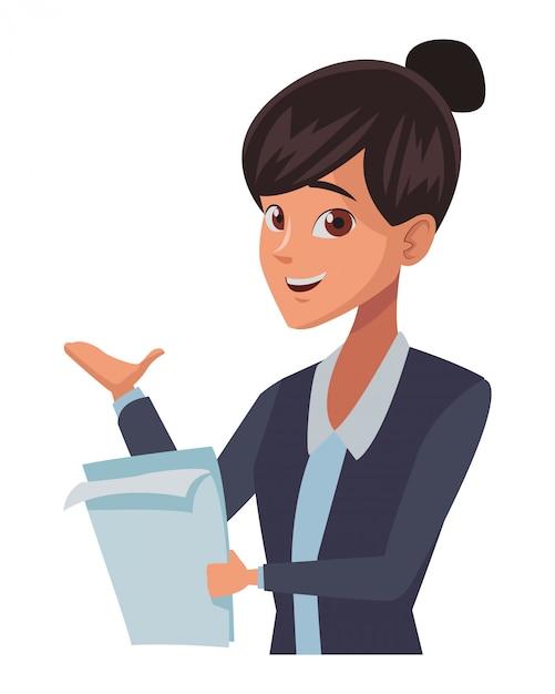 Fumetto esecutivo della donna di affari Vettore Premium