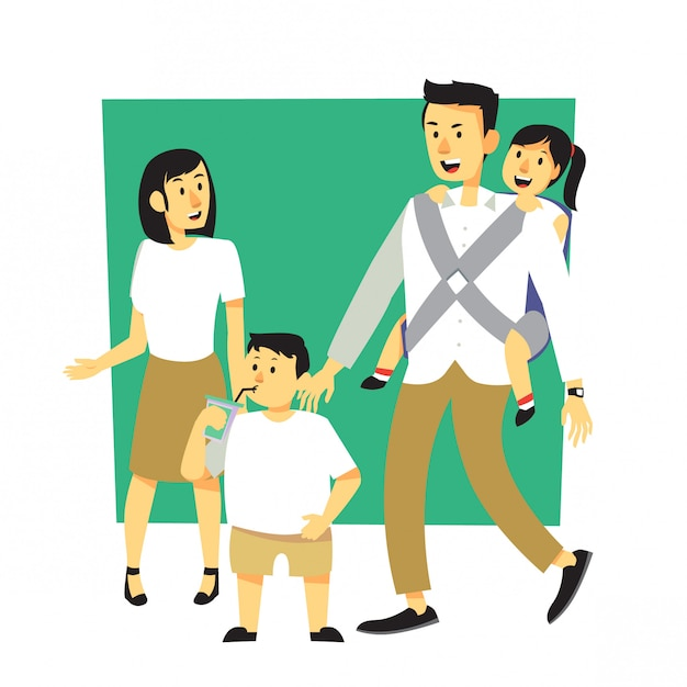 Fumetto felice della famiglia con l'attrezzatura di corrispondenza Vettore Premium