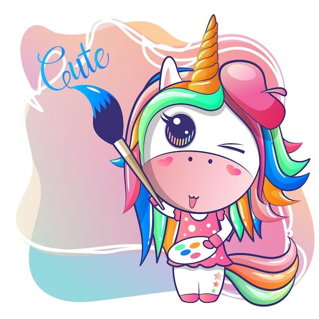 Fumetto felice sveglio dell'unicorno della ragazza Vettore Premium