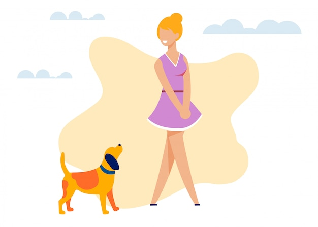 Fumetto grazioso sorridente felice del ritaglio del cane e della donna Vettore Premium