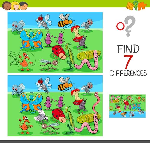 Fumetto illustrazione del gioco di differenze per i bambini Vettore Premium