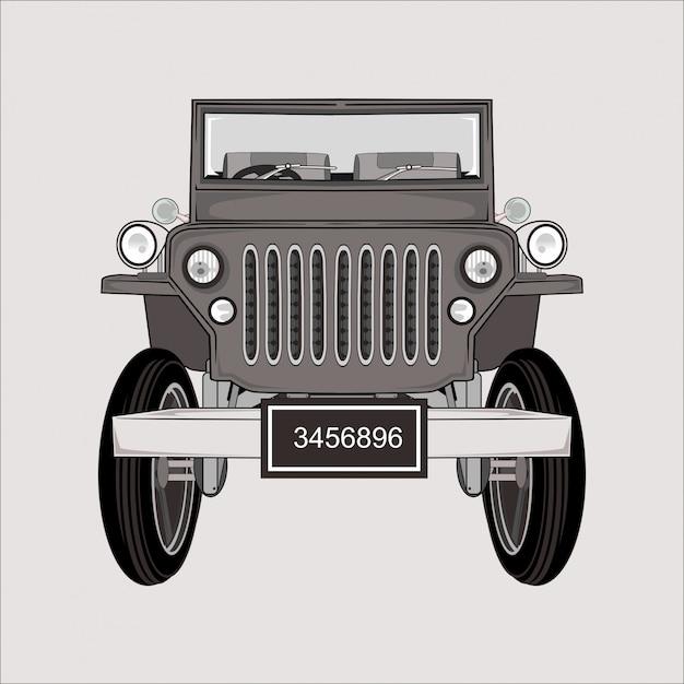 Fumetto illustrazione jeep retrò classico Vettore Premium