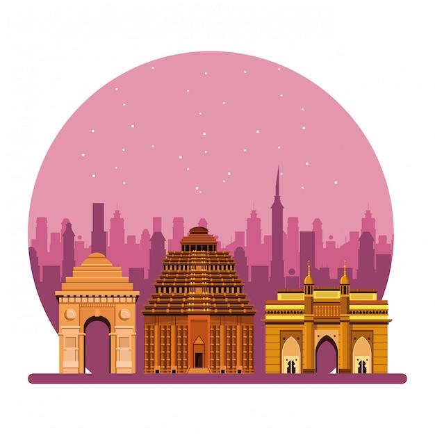 Fumetto indiano dell'icona dei monumenti della costruzione Vettore Premium