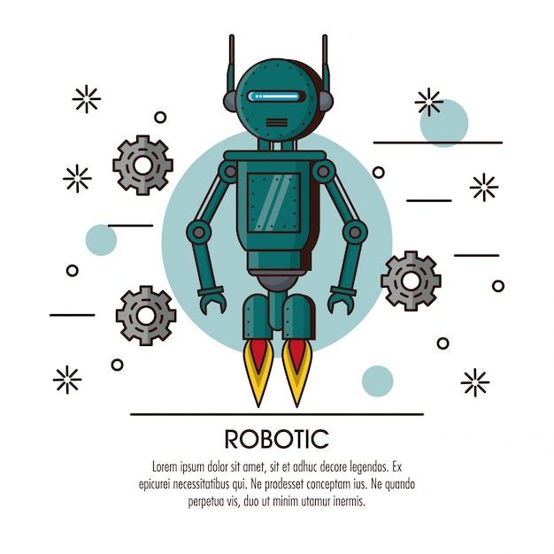 Fumetto infografica robotica Vettore Premium