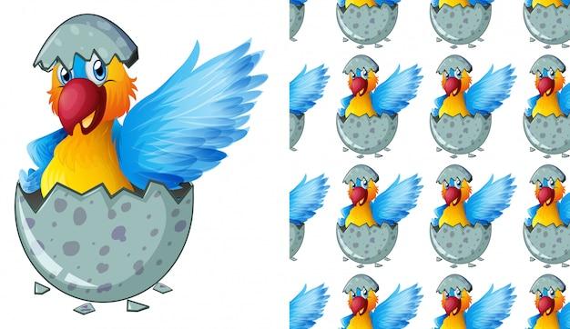 Fumetto isolato del modello del pappagallo Vettore Premium