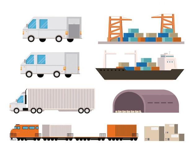 Fumetto logistico del carico delle mercanzie del trasporto Vettore gratuito