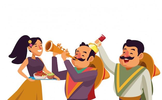Fumetto messicano dell'icona della cultura tradizionale Vettore Premium