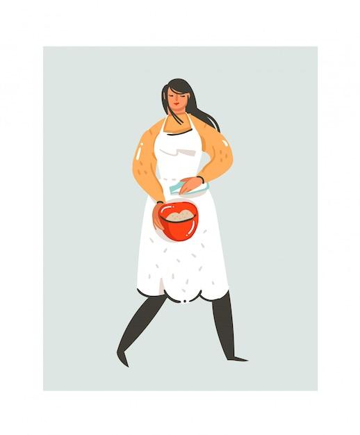 Fumetto moderno astratto disegnato a mano che cucina icona divertente delle illustrazioni di tempo con la donna del cuoco unico di cottura in grembiule bianco che prepara i biscotti isolati su bianco Vettore Premium