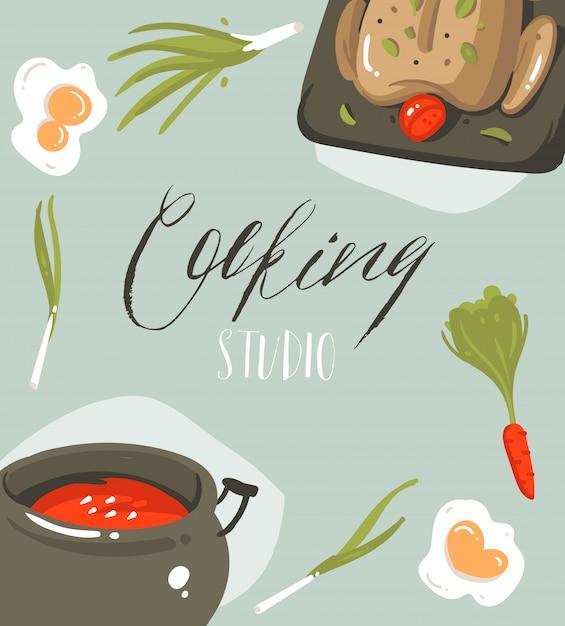Fumetto moderno astratto disegnato a mano che cucina la carta del manifesto delle illustrazioni dello studio con alimento, le verdure e la calligrafia scritta a mano che cucinano studio su fondo grigio Vettore Premium
